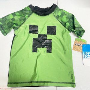 Minecraft Green Short Sleeve Rashguard Swim Top